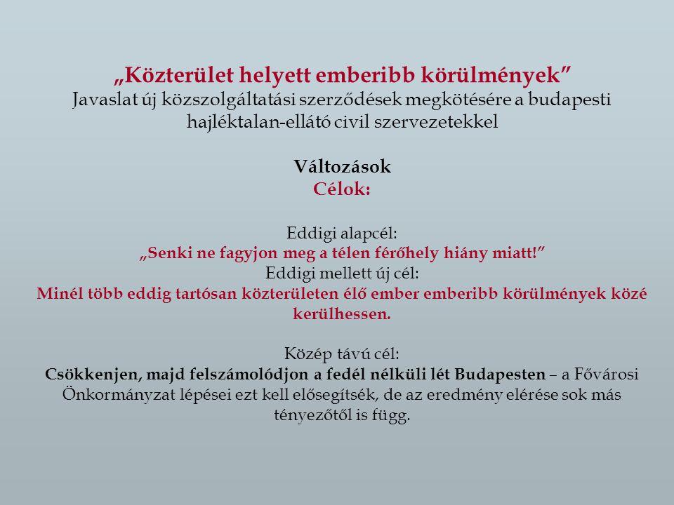 """""""Közterület helyett emberibb körülmények Javaslat új közszolgáltatási szerződések megkötésére a budapesti hajléktalan-ellátó civil szervezetekkel Változások Célok: Eddigi alapcél: """"Senki ne fagyjon meg a télen férőhely hiány miatt! Eddigi mellett új cél: Minél több eddig tartósan közterületen élő ember emberibb körülmények közé kerülhessen."""