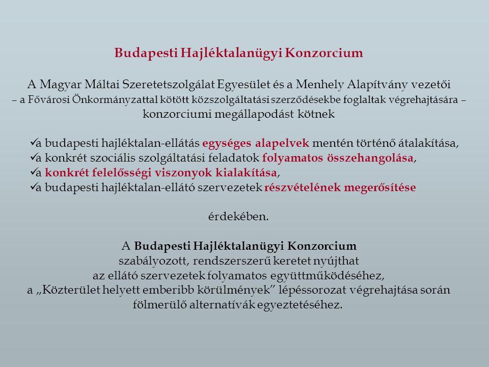 Budapesti Hajléktalanügyi Konzorcium A Magyar Máltai Szeretetszolgálat Egyesület és a Menhely Alapítvány vezetői – a Fővárosi Önkormányzattal kötött közszolgáltatási szerződésekbe foglaltak végrehajtására – konzorciumi megállapodást kötnek a budapesti hajléktalan-ellátás egységes alapelvek mentén történő átalakítása, a konkrét szociális szolgáltatási feladatok folyamatos összehangolása, a konkrét felelősségi viszonyok kialakítása, a budapesti hajléktalan-ellátó szervezetek részvételének megerősítése érdekében.