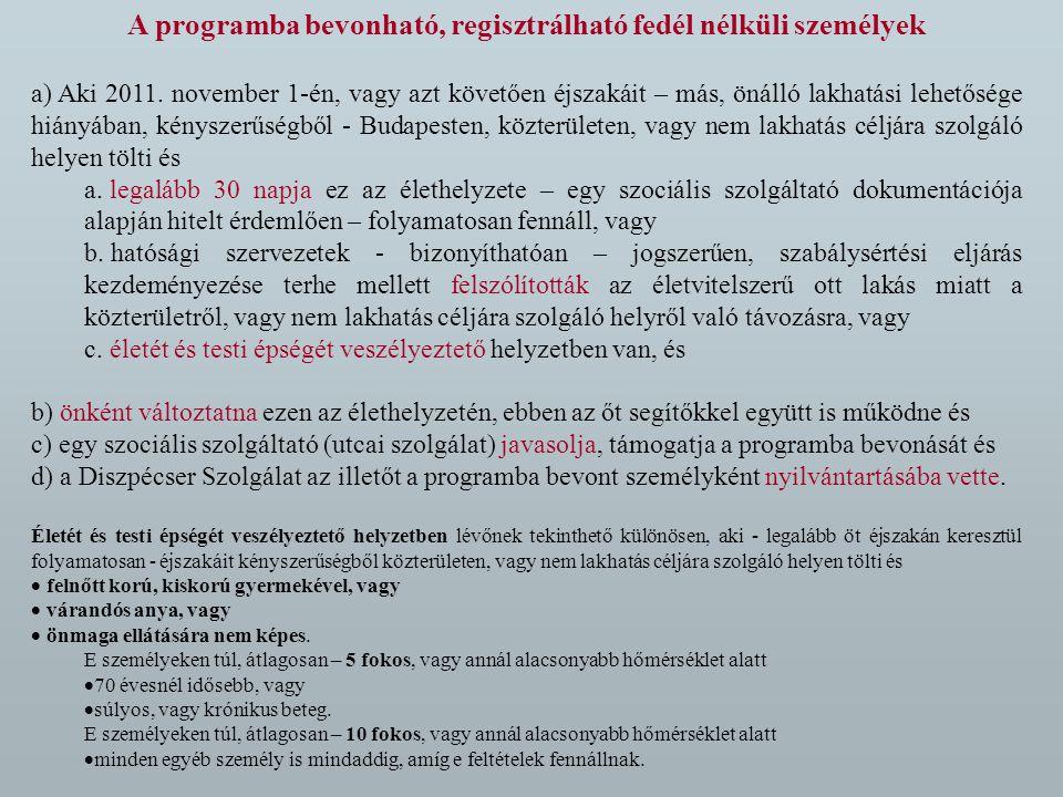 A programba bevonható, regisztrálható fedél nélküli személyek a) Aki 2011.