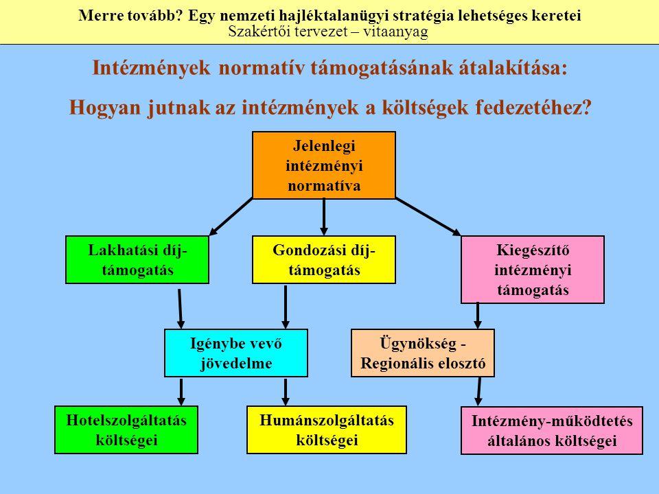 Jelenlegi intézményi normatíva Lakhatási díj- támogatás Gondozási díj- támogatás Kiegészítő intézményi támogatás Hotelszolgáltatás költségei Humánszolgáltatás költségei Intézmény-működtetés általános költségei Igénybe vevő jövedelme Ügynökség - Regionális elosztó Intézmények normatív támogatásának átalakítása: Hogyan jutnak az intézmények a költségek fedezetéhez.