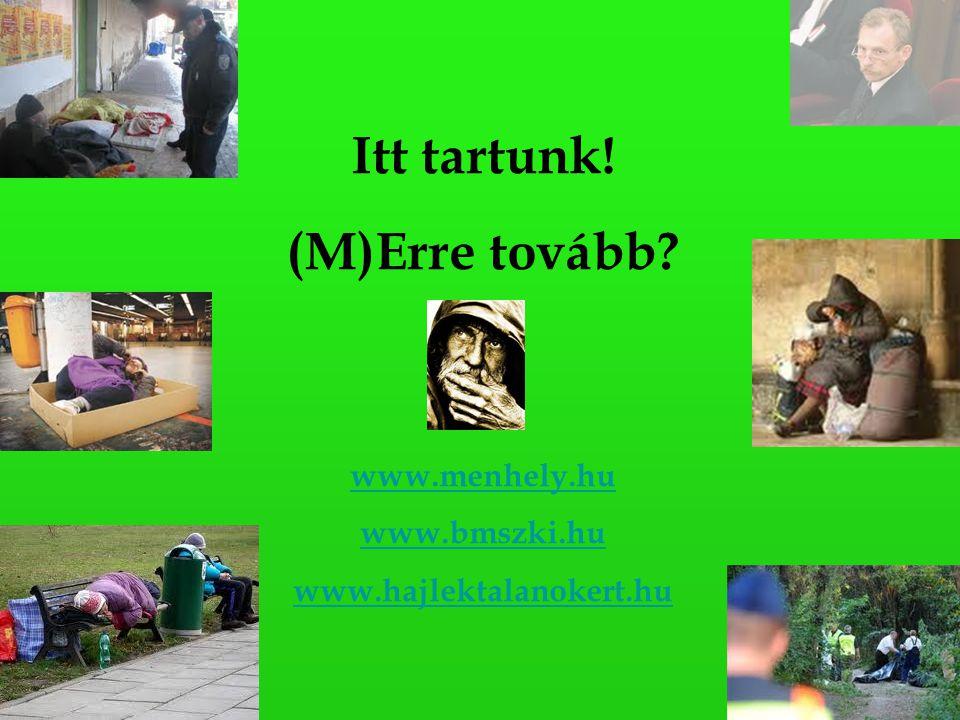 Itt tartunk! (M)Erre tovább www.menhely.hu www.bmszki.hu www.hajlektalanokert.hu