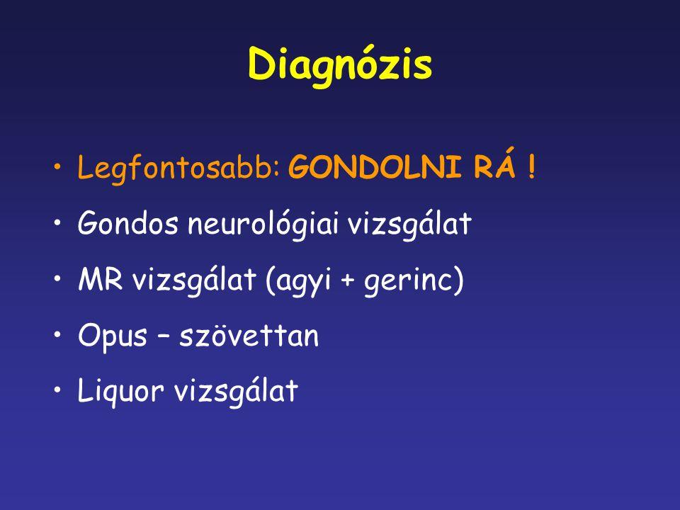Diagnózis Legfontosabb: GONDOLNI RÁ ! Gondos neurológiai vizsgálat MR vizsgálat (agyi + gerinc) Opus – szövettan Liquor vizsgálat