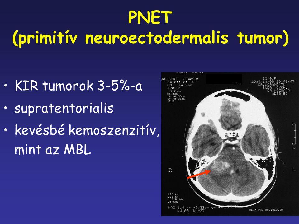 PNET (primitív neuroectodermalis tumor) KIR tumorok 3-5%-a supratentorialis kevésbé kemoszenzitív, mint az MBL