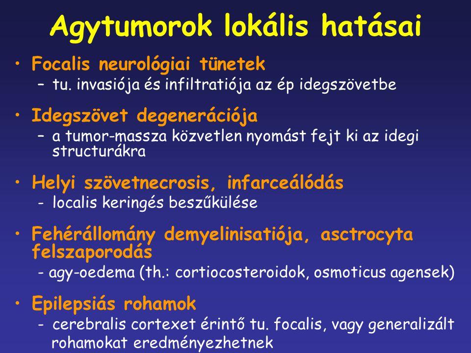 Agytumorok lokális hatásai Focalis neurológiai tünetek –tu. invasiója és infiltratiója az ép idegszövetbe Idegszövet degenerációja –a tumor-massza köz