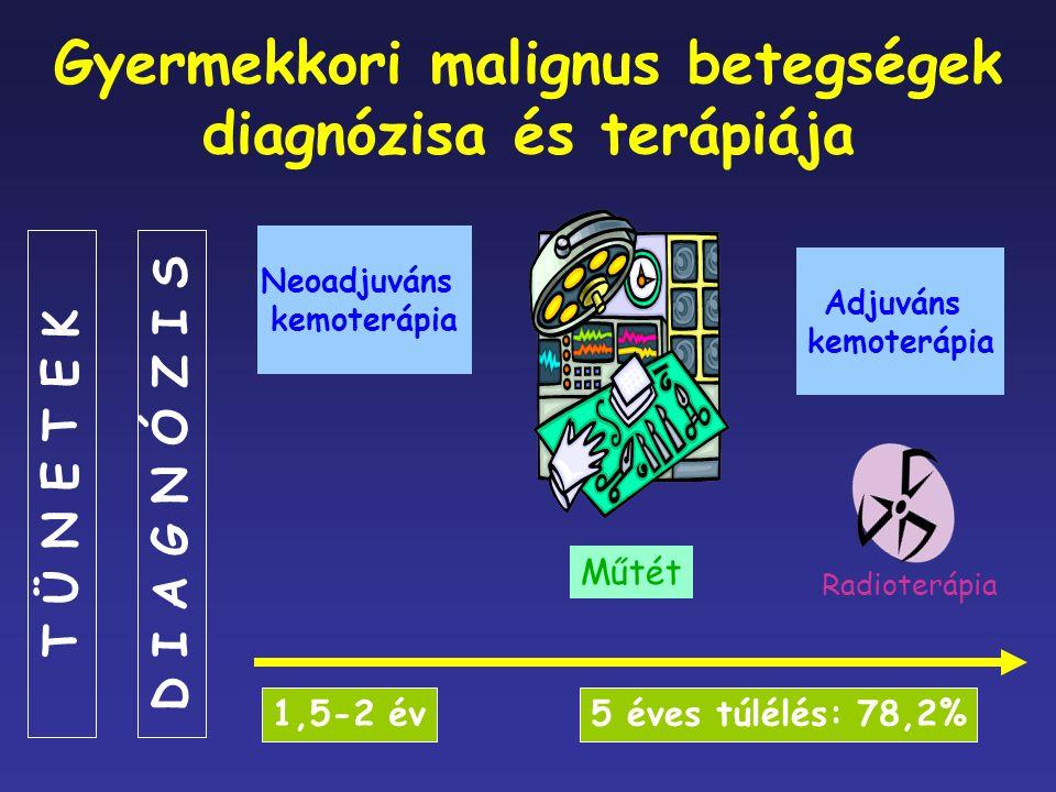 Gyermekkori malignus betegségek diagnózisa és terápiája Neoadjuváns kemoterápia Műtét Radioterápia Adjuváns kemoterápia 1,5-2 év5 éves túlélés: 78,2%