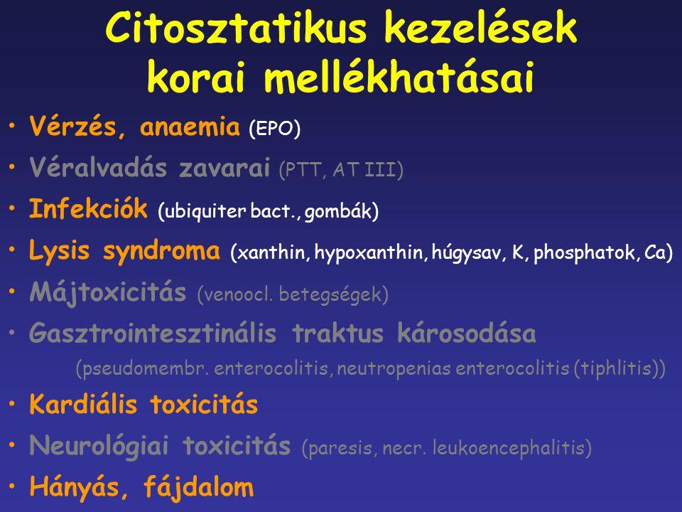 Vérzés, anaemia (EPO) Véralvadás zavarai (PTT, AT III) Infekciók (ubiquiter bact., gombák) Lysis syndroma (xanthin, hypoxanthin, húgysav, K, phosphato