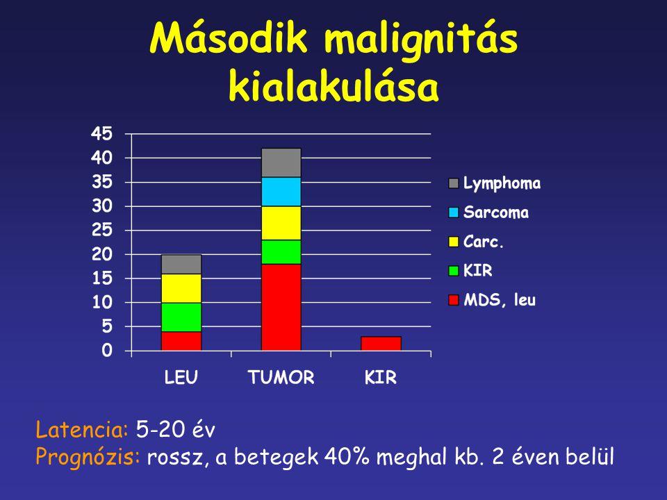 Második malignitás kialakulása Latencia: 5-20 év Prognózis: rossz, a betegek 40% meghal kb. 2 éven belül
