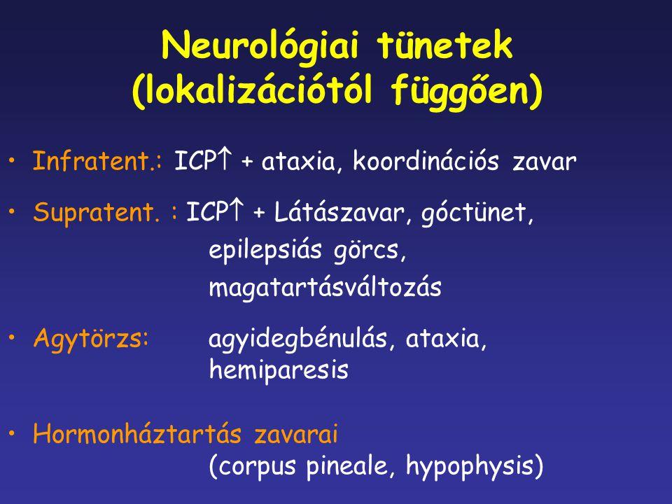 Neurológiai tünetek (lokalizációtól függően) Infratent.: ICP  + ataxia, koordinációs zavar Supratent. : ICP  + Látászavar, góctünet, epilepsiás görc