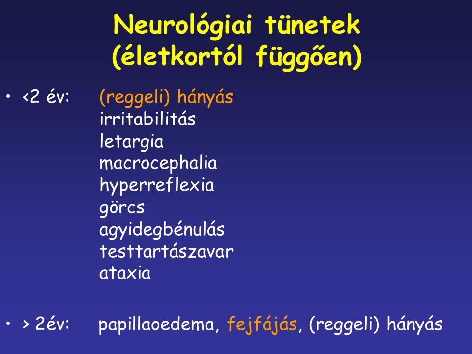 Neurológiai tünetek (életkortól függően) <2 év: (reggeli) hányás irritabilitás letargia macrocephalia hyperreflexia görcs agyidegbénulás testtartászav