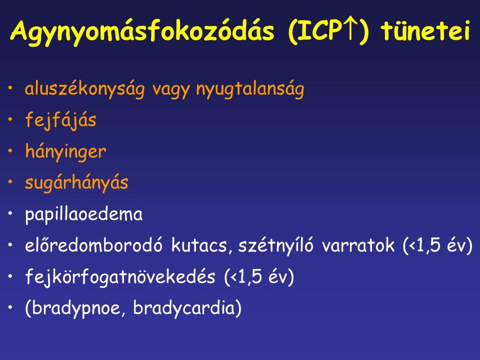 Agynyomásfokozódás (ICP  ) tünetei aluszékonyság vagy nyugtalanság fejfájás hányinger sugárhányás papillaoedema előredomborodó kutacs, szétnyíló varr