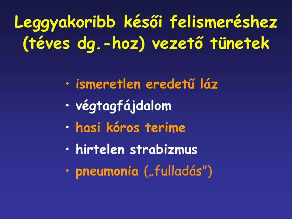 """ismeretlen eredetű láz végtagfájdalom hasi kóros terime hirtelen strabizmus pneumonia (""""fulladás"""") Leggyakoribb késői felismeréshez (téves dg.-hoz) ve"""