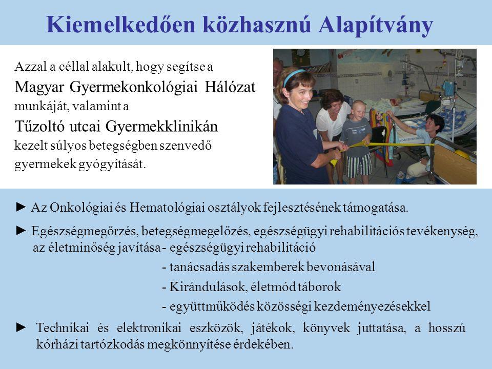 Azzal a céllal alakult, hogy segítse a Magyar Gyermekonkológiai Hálózat munkáját, valamint a Tűzoltó utcai Gyermekklinikán kezelt súlyos betegségben s