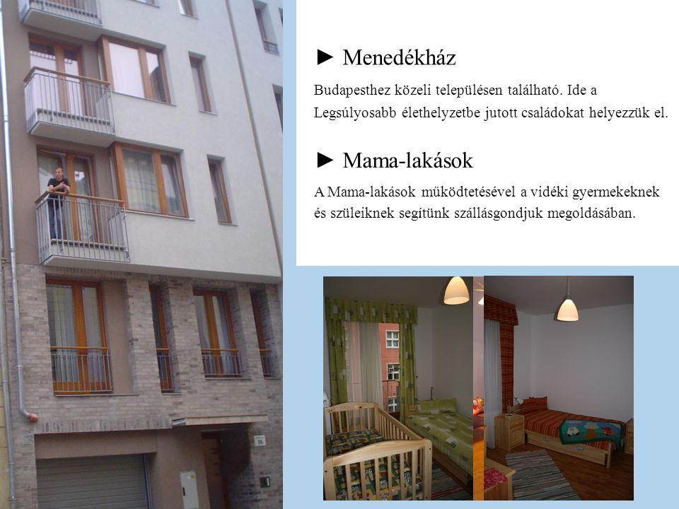 ► Mama-lakások ► Menedékház Budapesthez közeli településen található. Ide a Legsúlyosabb élethelyzetbe jutott családokat helyezzük el. A Mama-lakások
