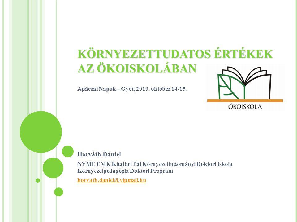 KÖRNYEZETTUDATOS ÉRTÉKEK AZ ÖKOISKOLÁBAN Apáczai Napok – KÖRNYEZETTUDATOS ÉRTÉKEK AZ ÖKOISKOLÁBAN Apáczai Napok – Győr, 2010.