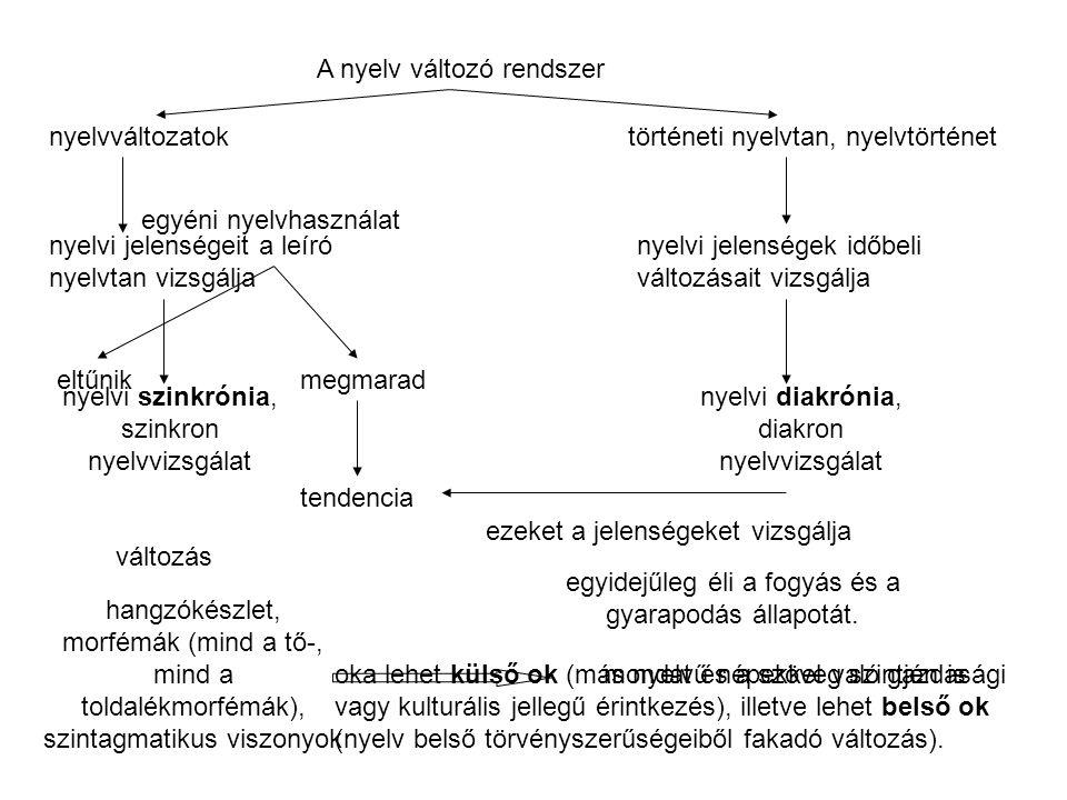 A nyelv változó rendszer nyelvváltozatoktörténeti nyelvtan, nyelvtörténet nyelvi jelenségeit a leíró nyelvtan vizsgálja nyelvi jelenségek időbeli változásait vizsgálja nyelvi szinkrónia, szinkron nyelvvizsgálat nyelvi diakrónia, diakron nyelvvizsgálat egyéni nyelvhasználat eltűnikmegmarad tendencia ezeket a jelenségeket vizsgálja hangzókészlet, morfémák (mind a tő-, mind a toldalékmorfémák), szintagmatikus viszonyok mondat és a szöveg szintjén is változás egyidejűleg éli a fogyás és a gyarapodás állapotát.