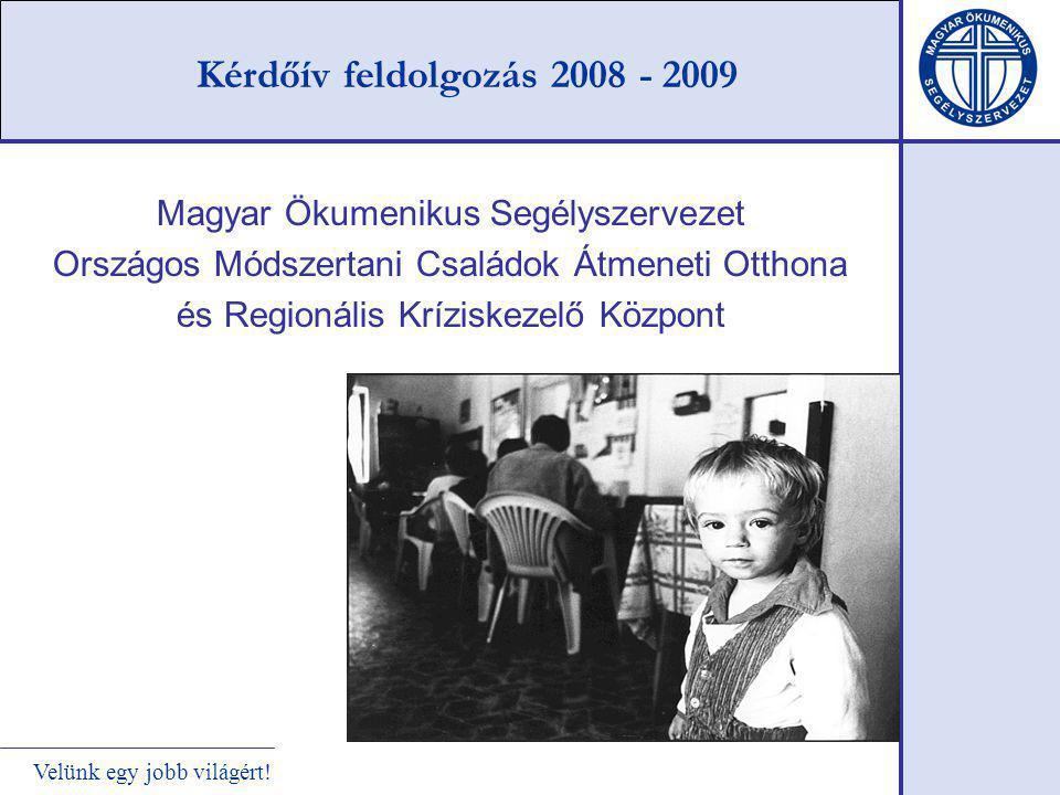 Velünk egy jobb világért! Kérdőív feldolgozás 2008 - 2009 Magyar Ökumenikus Segélyszervezet Országos Módszertani Családok Átmeneti Otthona és Regionál