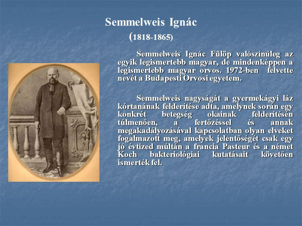 Semmelweis Ignác ( 1818-1865) Semmelweis Ignác Fülöp valószínűleg az egyik legismertebb magyar, de mindenképpen a legismertebb magyar orvos. 1972-ben