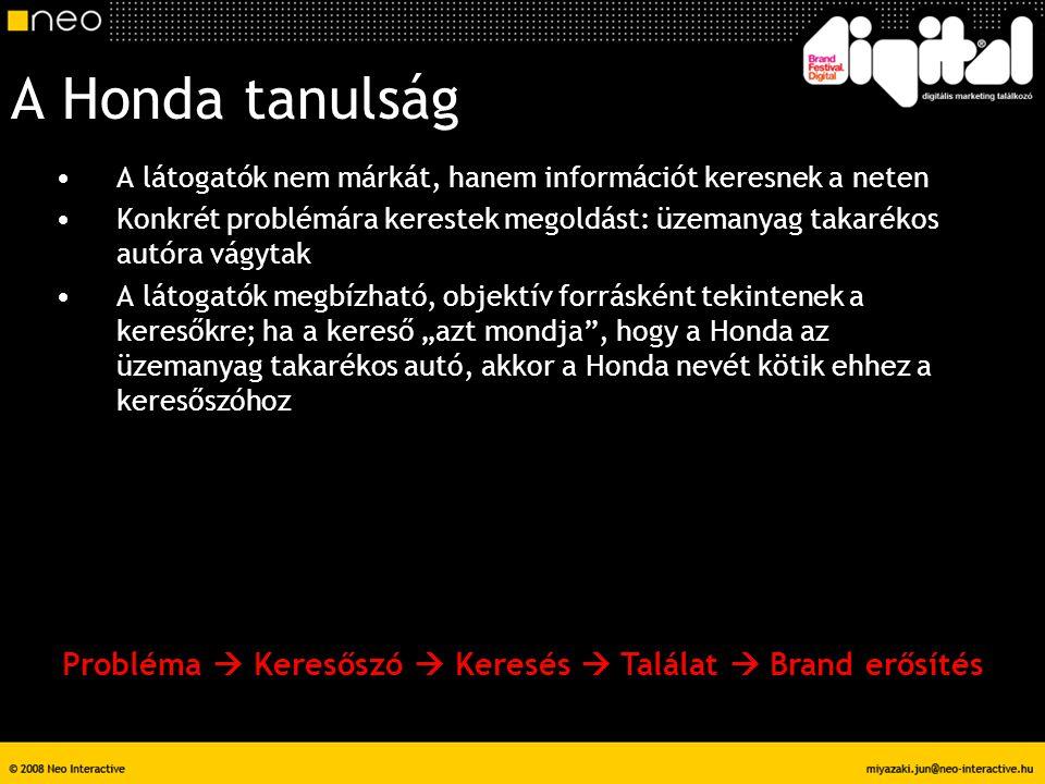 A Honda tanulság A látogatók nem márkát, hanem információt keresnek a neten Konkrét problémára kerestek megoldást: üzemanyag takarékos autóra vágytak