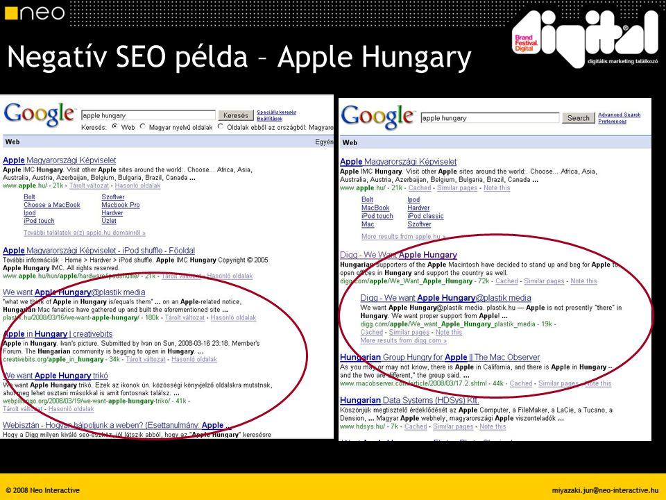 Negatív SEO példa – Apple Hungary
