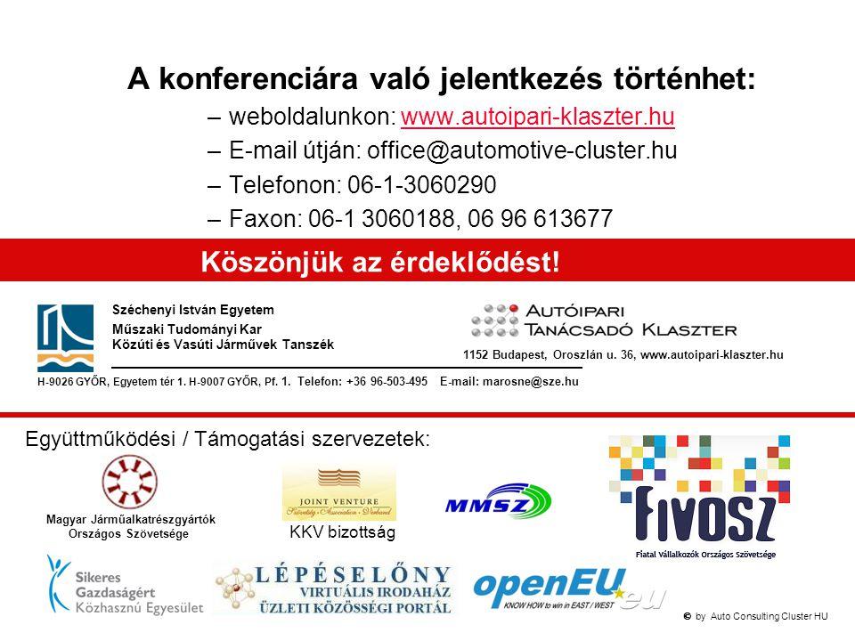  by Auto Consulting Cluster HU A konferenciára való jelentkezés történhet: –weboldalunkon: www.autoipari-klaszter.huwww.autoipari-klaszter.hu –E-ma