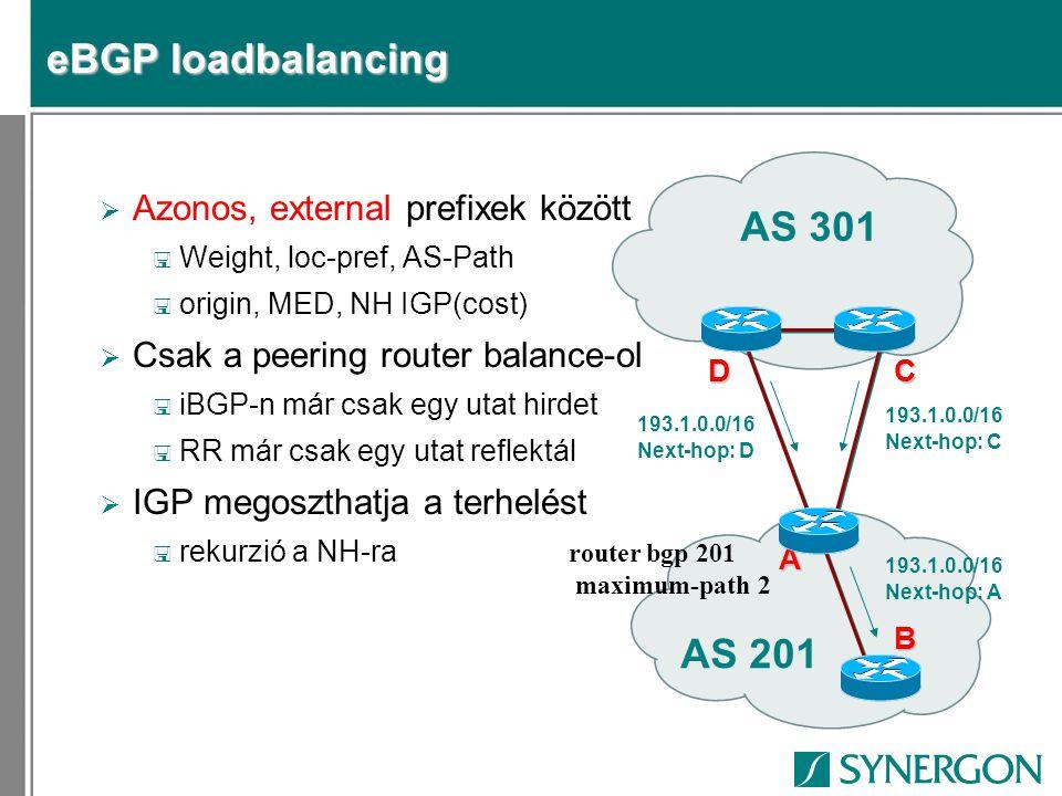 eBGP loadbalancing  Azonos, external prefixek között < Weight, loc-pref, AS-Path < origin, MED, NH IGP(cost)  Csak a peering router balance-ol < iBGP-n már csak egy utat hirdet < RR már csak egy utat reflektál  IGP megoszthatja a terhelést < rekurzió a NH-ra AS 201 AS 301 B C A 193.1.0.0/16 Next-hop: D 193.1.0.0/16 Next-hop: C D 193.1.0.0/16 Next-hop: A router bgp 201 maximum-path 2