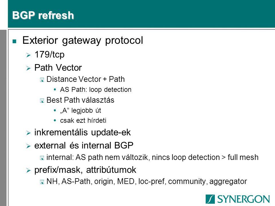 """BGP refresh n Exterior gateway protocol  179/tcp  Path Vector < Distance Vector + Path  AS Path: loop detection < Best Path választás  """"A legjobb út  csak ezt hírdeti  inkrementális update-ek  external és internal BGP full mesh  prefix/mask, attribútumok < NH, AS-Path, origin, MED, loc-pref, community, aggregator"""