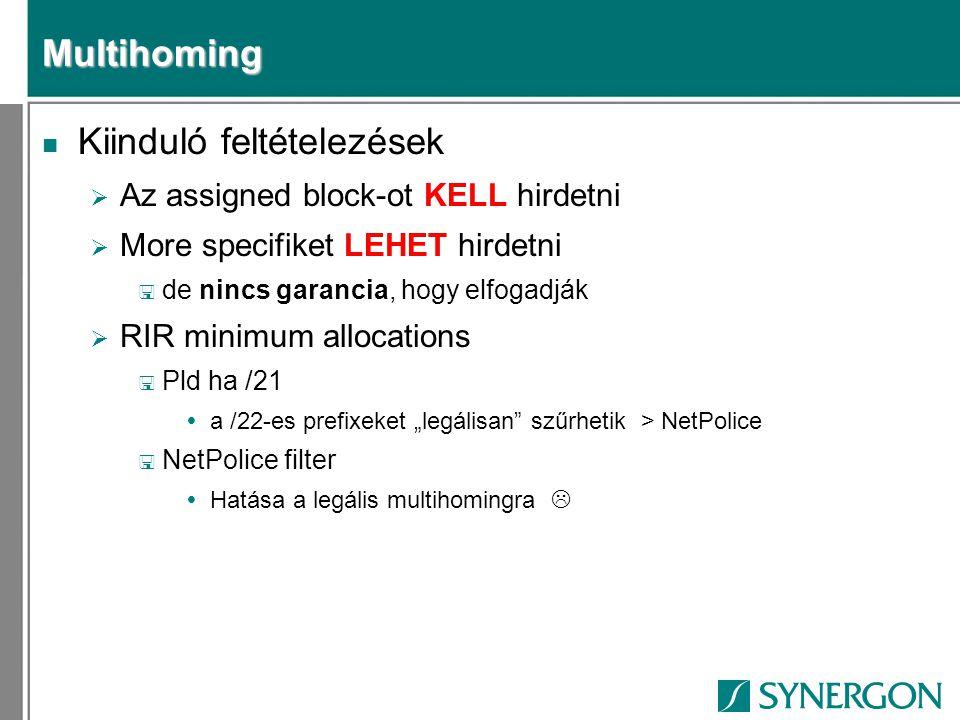 """Multihoming n Kiinduló feltételezések  Az assigned block-ot KELL hirdetni  More specifiket LEHET hirdetni < de nincs garancia, hogy elfogadják  RIR minimum allocations < Pld ha /21  a /22-es prefixeket """"legálisan szűrhetik > NetPolice < NetPolice filter  Hatása a legális multihomingra """