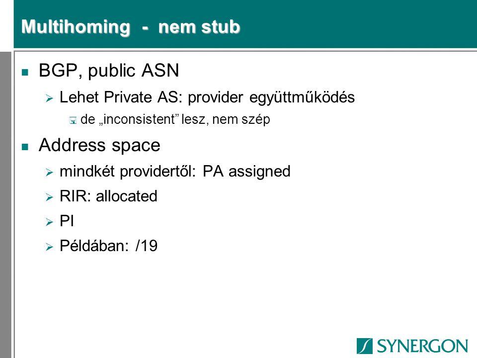 """Multihoming - nem stub n BGP, public ASN  Lehet Private AS: provider együttműködés < de """"inconsistent"""" lesz, nem szép n Address space  mindkét provi"""