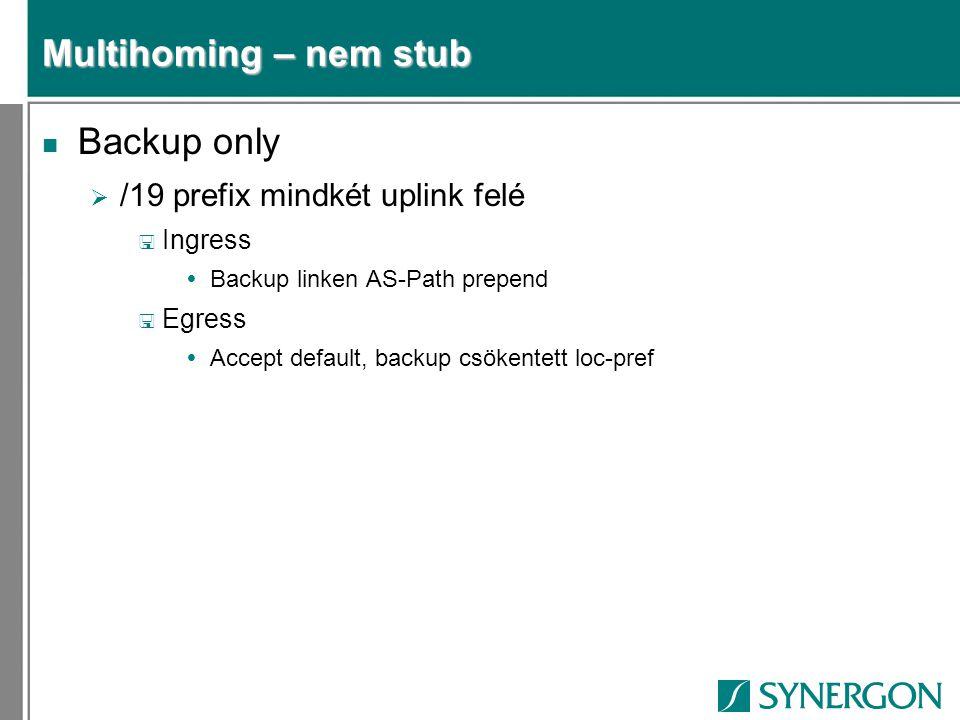 Multihoming – nem stub n Backup only  /19 prefix mindkét uplink felé < Ingress  Backup linken AS-Path prepend < Egress  Accept default, backup csökentett loc-pref