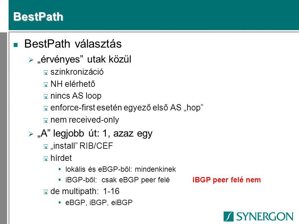 ISP multihoming n Hirdetés  Announce /19-et minden linken  Accept < Default/partial from uplinks < Partial from regional uplink < All from local peers  Partial < ^200_[0-9]+$ vagy < ^200_[0-9]+_[0-9]+$  Loc-pref on default < Regional < uplink
