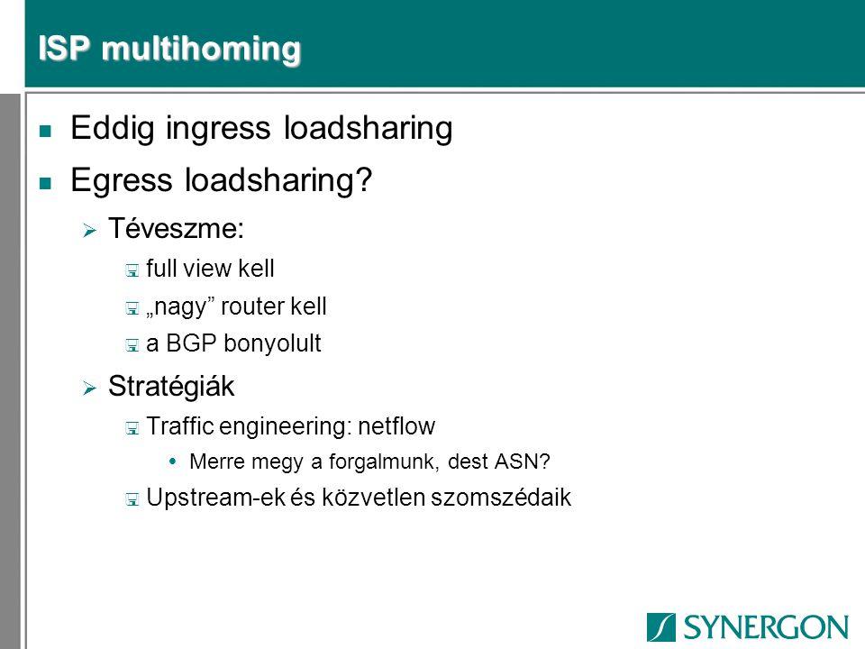 "ISP multihoming n Eddig ingress loadsharing n Egress loadsharing?  Téveszme: < full view kell < ""nagy"" router kell < a BGP bonyolult  Stratégiák < T"