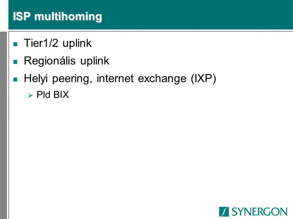 ISP multihoming n Tier1/2 uplink n Regionális uplink n Helyi peering, internet exchange (IXP)  Pld BIX