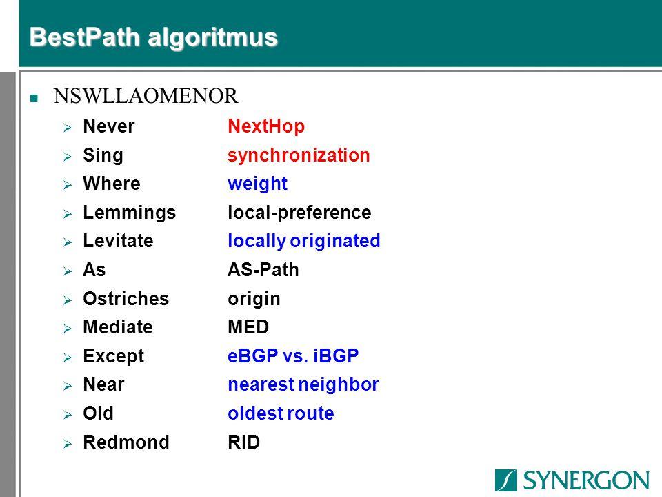 BestPath algoritmus NSWLLAOMENOR  NeverNextHop  Singsynchronization  Whereweight  Lemmingslocal-preference  Levitatelocally originated  AsAS-Pat