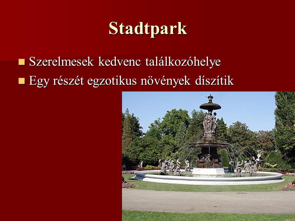 Stadtpark Szerelmesek kedvenc találkozóhelye Szerelmesek kedvenc találkozóhelye Egy részét egzotikus növények díszítik Egy részét egzotikus növények díszítik
