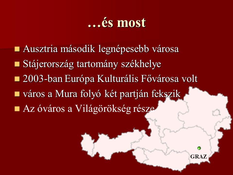 …és most Ausztria második legnépesebb városa Ausztria második legnépesebb városa Stájerország tartomány székhelye Stájerország tartomány székhelye 2003-ban Európa Kulturális Fővárosa volt 2003-ban Európa Kulturális Fővárosa volt város a Mura folyó két partján fekszik város a Mura folyó két partján fekszik Az óváros a Világörökség része GRAZ