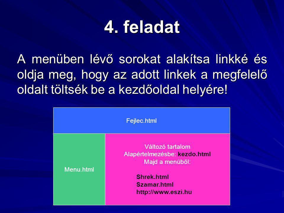 4. feladat A menüben lévő sorokat alakítsa linkké és oldja meg, hogy az adott linkek a megfelelő oldalt töltsék be a kezdőoldal helyére! Fejlec.html M