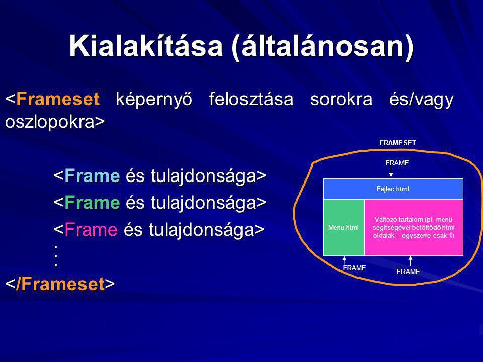 Kialakítása (általánosan)... Fejlec.html Menu.html Változó tartalom (pl.