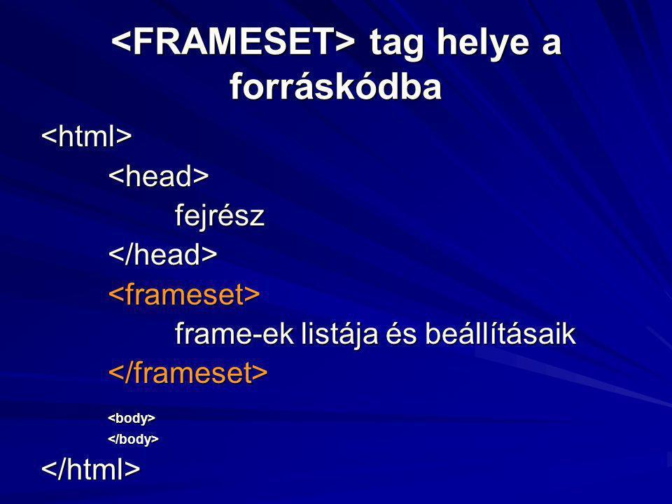 tag helye a forráskódba tag helye a forráskódba <html><head>fejrész</head><frameset> frame-ek listája és beállításaik </frameset><body></body></html>