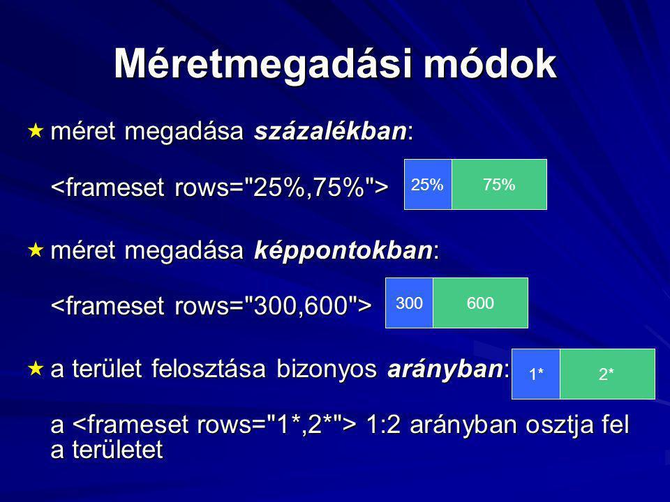 Méretmegadási módok  méret megadása százalékban:  méret megadása képpontokban:  a terület felosztása bizonyos arányban: a 1:2 arányban osztja fel a területet 25%75%3006001*2*