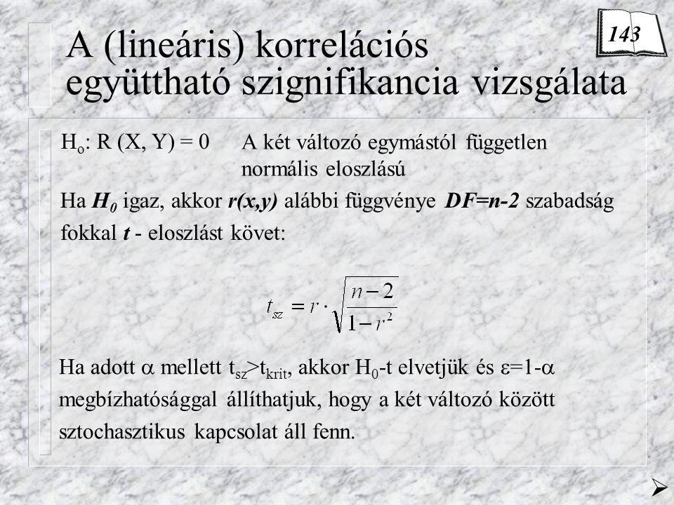 A (lineáris) korrelációs együttható szignifikancia vizsgálata A két változó egymástól független normális eloszlású H o : R (X, Y) = 0 Ha H 0 igaz, akkor r(x,y) alábbi függvénye DF=n-2 szabadság fokkal t - eloszlást követ: Ha adott  mellett t sz >t krit, akkor H 0 -t elvetjük és  =1-  megbízhatósággal állíthatjuk, hogy a két változó között sztochasztikus kapcsolat áll fenn.