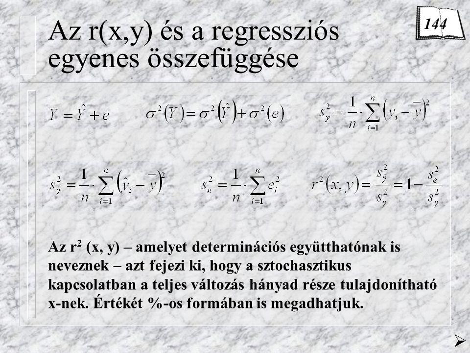 Az r(x,y) és a regressziós egyenes összefüggése Az r 2 (x, y) – amelyet determinációs együtthatónak is neveznek – azt fejezi ki, hogy a sztochasztikus kapcsolatban a teljes változás hányad része tulajdonítható x-nek.