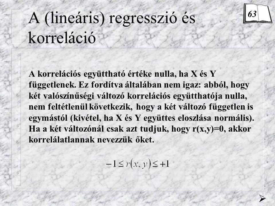 A (lineáris) regresszió és korreláció A korrelációs együttható értéke nulla, ha X és Y függetlenek.