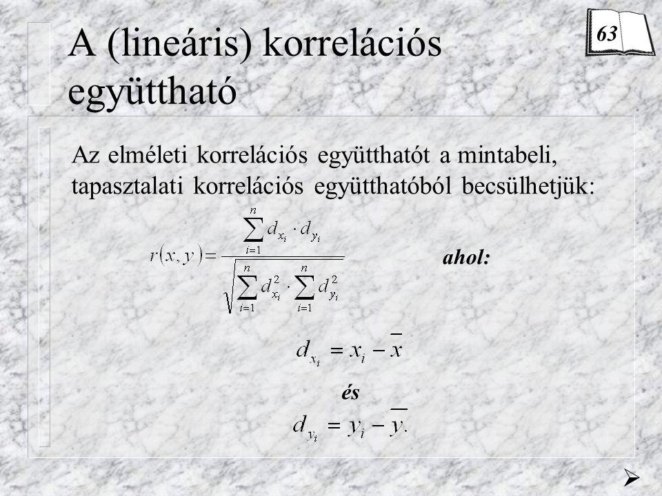 A (lineáris) korrelációs együttható Az elméleti korrelációs együtthatót a mintabeli, tapasztalati korrelációs együtthatóból becsülhetjük: és ahol: 63 