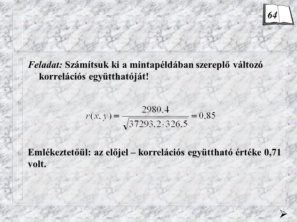 Feladat: Számítsuk ki a mintapéldában szereplő változó korrelációs együtthatóját.