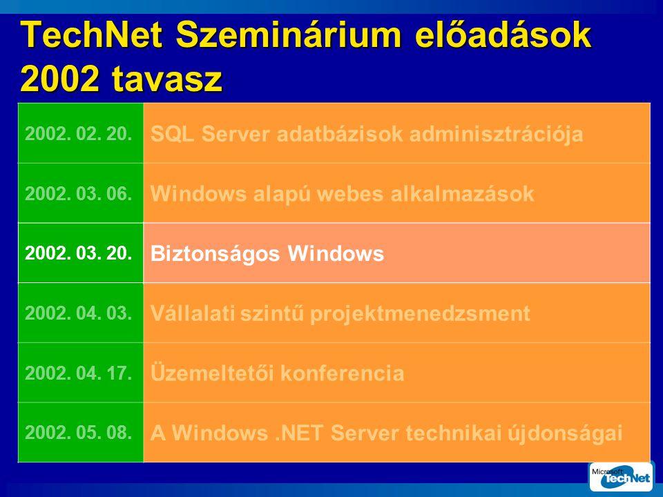 TechNet Szeminárium előadások 2002 tavasz 2002. 02.