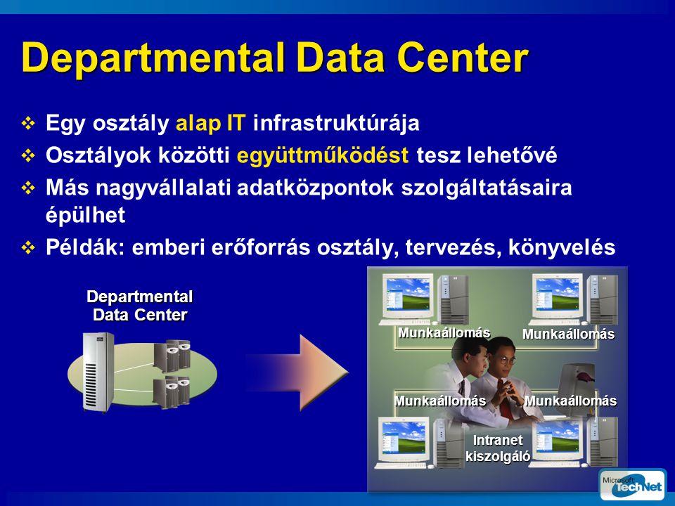Departmental Data Center  Egy osztály alap IT infrastruktúrája  Osztályok közötti együttműködést tesz lehetővé  Más nagyvállalati adatközpontok szolgáltatásaira épülhet  Példák: emberi erőforrás osztály, tervezés, könyvelés Munkaállomás Munkaállomás MunkaállomásMunkaállomás Intranet kiszolgáló Departmental Data Center