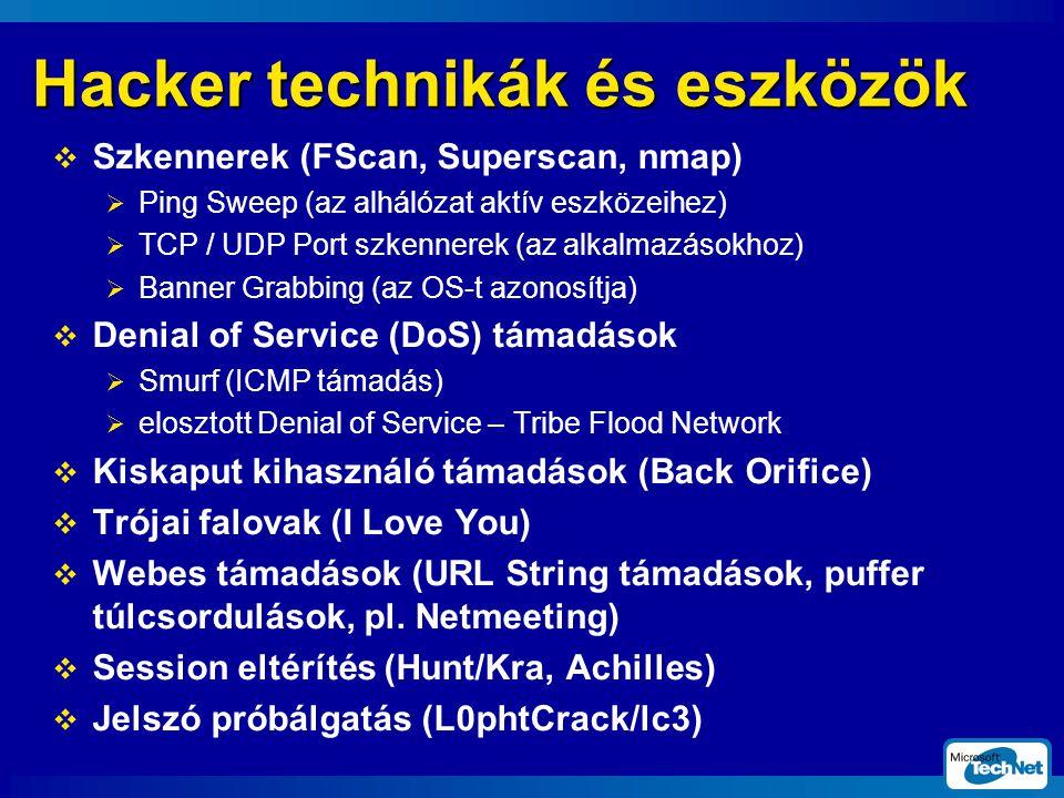 Hacker technikák és eszközök  Szkennerek (FScan, Superscan, nmap)  Ping Sweep (az alhálózat aktív eszközeihez)  TCP / UDP Port szkennerek (az alkalmazásokhoz)  Banner Grabbing (az OS-t azonosítja)  Denial of Service (DoS) támadások  Smurf (ICMP támadás)  elosztott Denial of Service – Tribe Flood Network  Kiskaput kihasználó támadások (Back Orifice)  Trójai falovak (I Love You)  Webes támadások (URL String támadások, puffer túlcsordulások, pl.