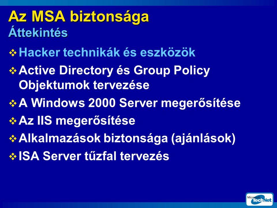 Az MSA biztonsága Áttekintés  Hacker technikák és eszközök  Active Directory és Group Policy Objektumok tervezése  A Windows 2000 Server megerősítése  Az IIS megerősítése  Alkalmazások biztonsága (ajánlások)  ISA Server tűzfal tervezés