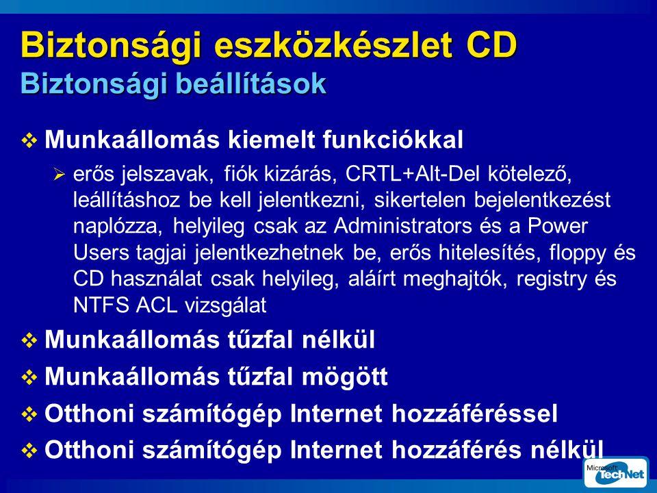 Biztonsági eszközkészlet CD Biztonsági beállítások  Munkaállomás kiemelt funkciókkal  erős jelszavak, fiók kizárás, CRTL+Alt-Del kötelező, leállításhoz be kell jelentkezni, sikertelen bejelentkezést naplózza, helyileg csak az Administrators és a Power Users tagjai jelentkezhetnek be, erős hitelesítés, floppy és CD használat csak helyileg, aláírt meghajtók, registry és NTFS ACL vizsgálat  Munkaállomás tűzfal nélkül  Munkaállomás tűzfal mögött  Otthoni számítógép Internet hozzáféréssel  Otthoni számítógép Internet hozzáférés nélkül