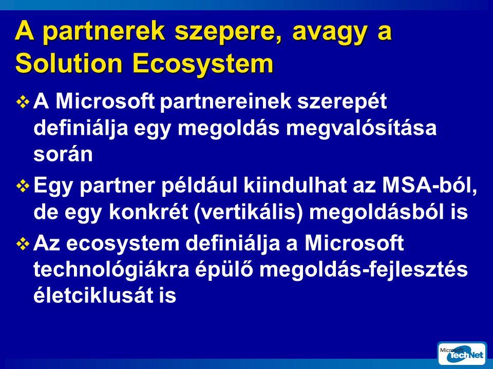 A partnerek szepere, avagy a Solution Ecosystem  A Microsoft partnereinek szerepét definiálja egy megoldás megvalósítása során  Egy partner például kiindulhat az MSA-ból, de egy konkrét (vertikális) megoldásból is  Az ecosystem definiálja a Microsoft technológiákra épülő megoldás-fejlesztés életciklusát is